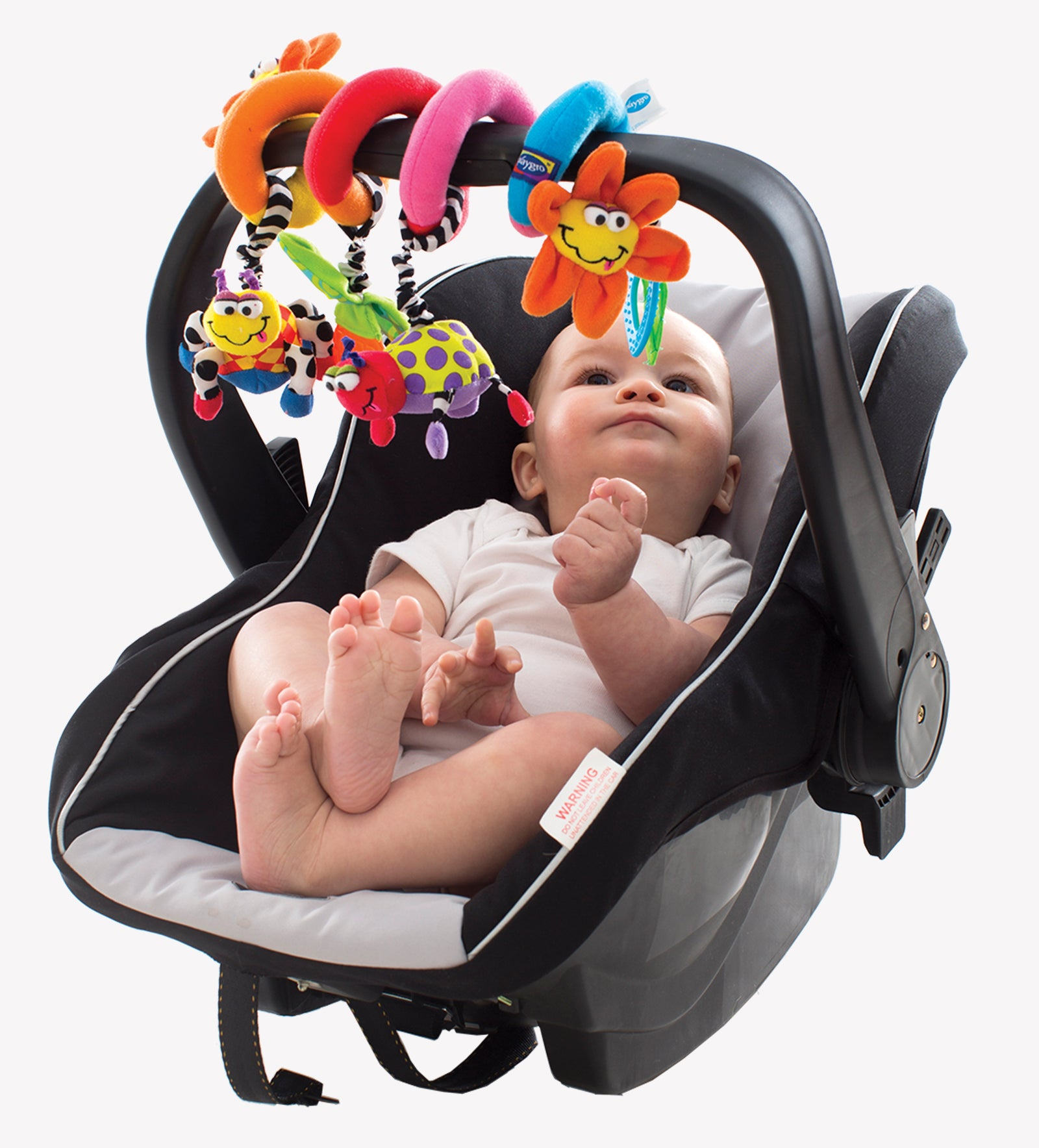 A baby is sitting on his car seat with Playgro Tiwrly toys is twirled on the bumper bar