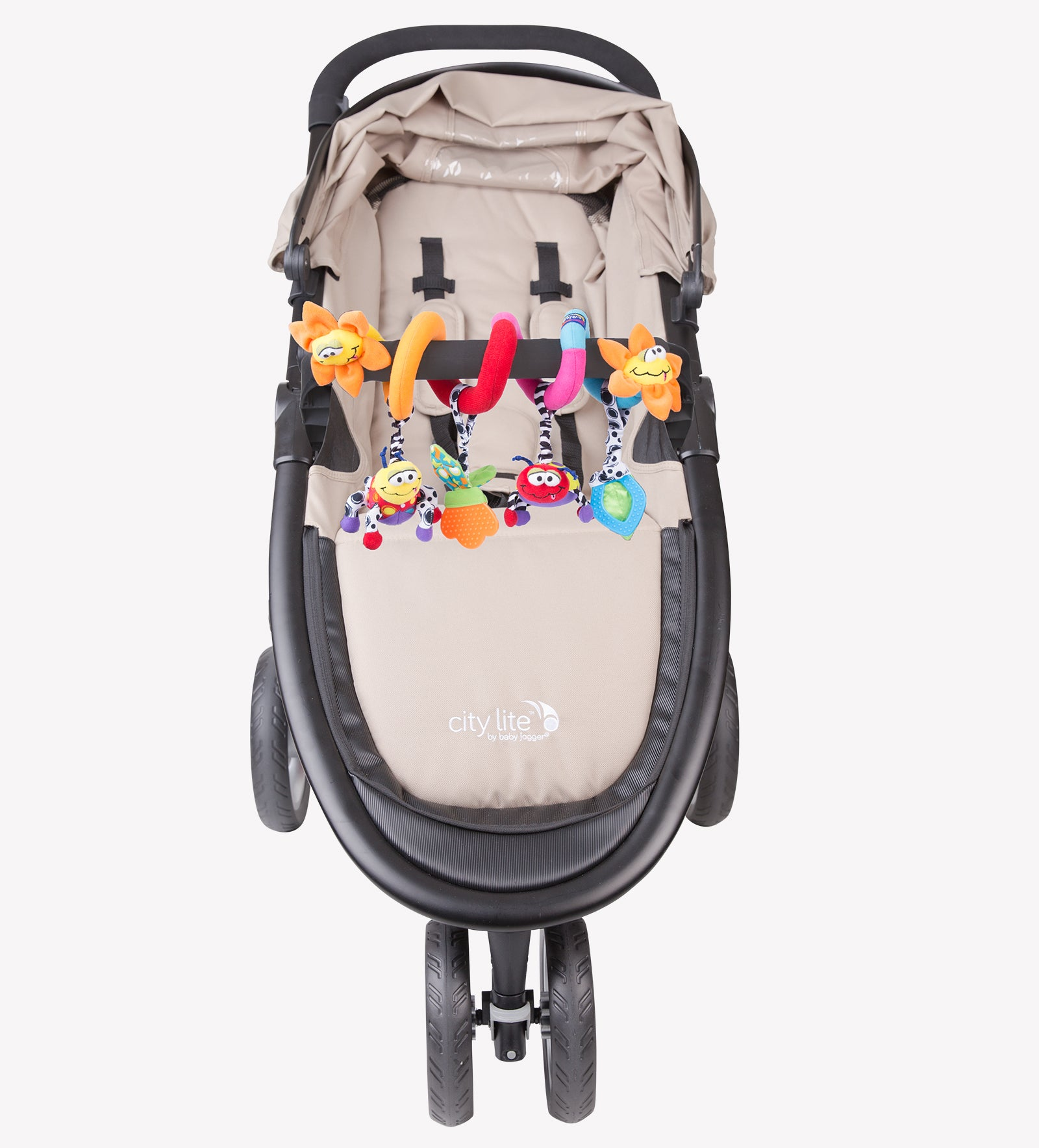 Playgro Garden Twirl is twired on the baby stroller bumper bar
