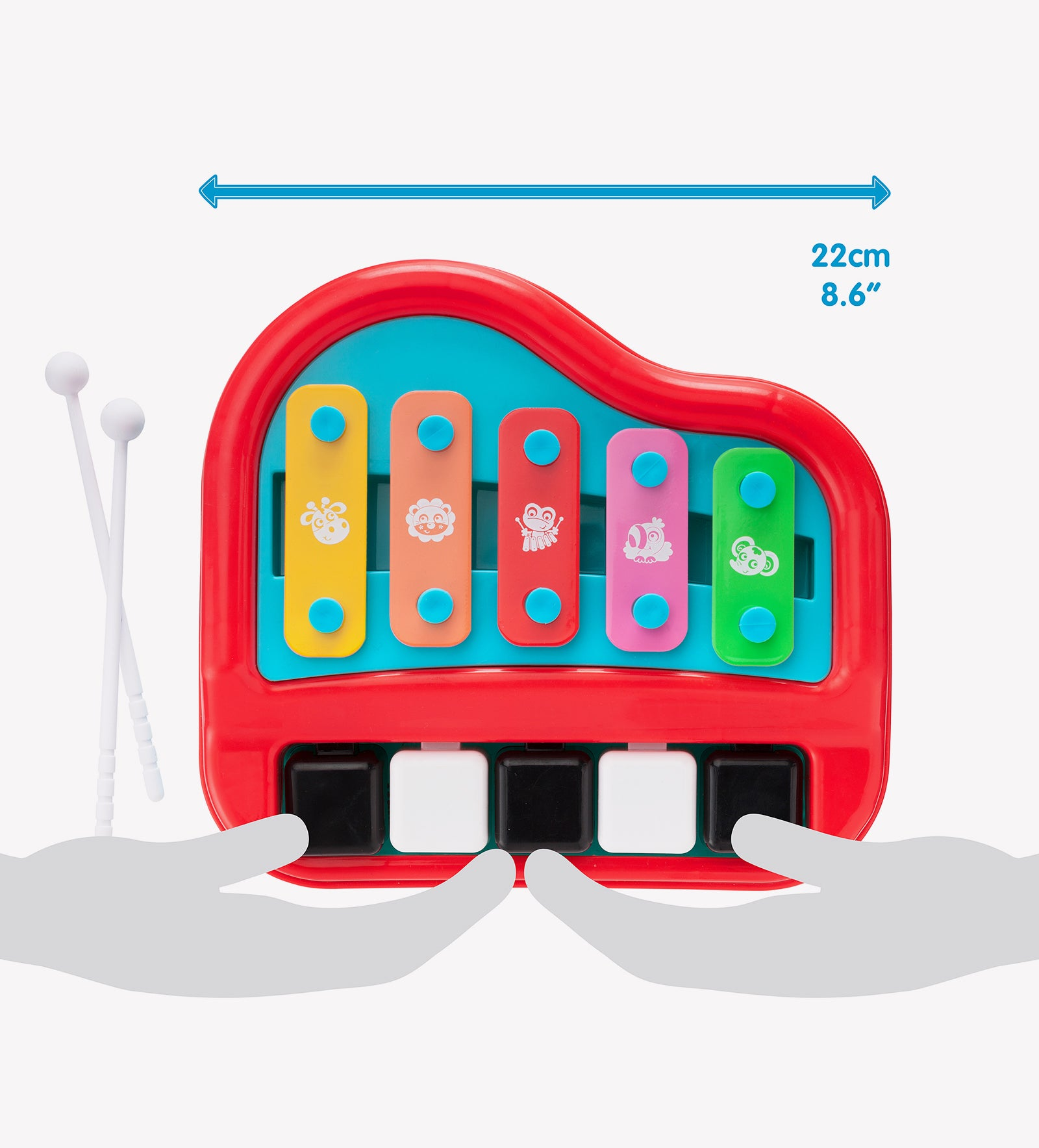 Playgro Piano and Xylophone baby toy size in comparison to human palm