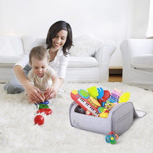 59s UV sterilizer toy bag placed on a carpet with baby toys inside