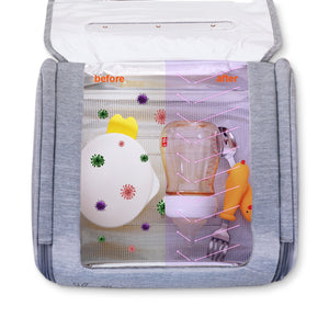 59s UV Sterilizer toy bag opened with milk bottle and utensils inside  | Not Too Big