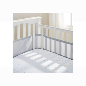 [Breathable Baby] Mesh Liner - Not Too Big (Grey) in a baby cot