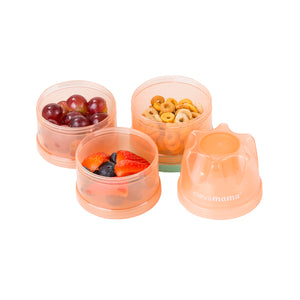 [Clevamama] Travel Container - Stackable Formula & Food Container - Not Too Big with fruits and snacks