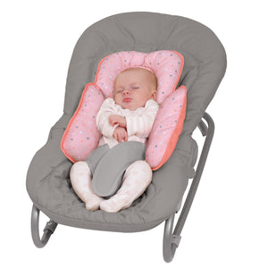 Baby sleeping in a baby bouncer with the [Clevamama] Coral ClevaCushion Nursing Pillow & Baby Nest - Not Too Big