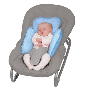 Baby sleeping in a baby bouncer with the [Clevamama] ClevaCushion Nursing Pillow & Baby Nest - Not Too Big (Blue)
