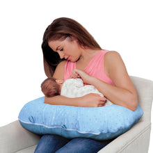 Load image into Gallery viewer, Mother holding baby in the [Clevamama] ClevaCushion Nursing Pillow & Baby Nest - Not Too Big (Blue)