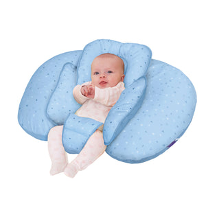 Baby lying in the [Clevamama] Blue ClevaCushion Nursing Pillow & Baby Nest - Not Too Big