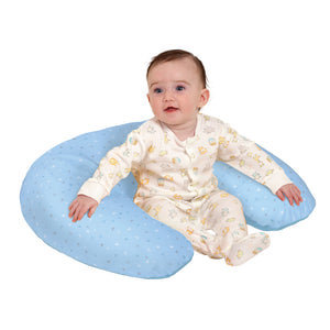 Baby resting in the [Clevamama] Blue ClevaCushion Nursing Pillow & Baby Nest - Not Too Big