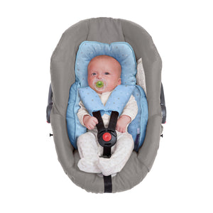 Baby in the car seat or baby carrier with the [Clevamama] Blue ClevaCushion Nursing Pillow & Baby Nest - Not Too Big