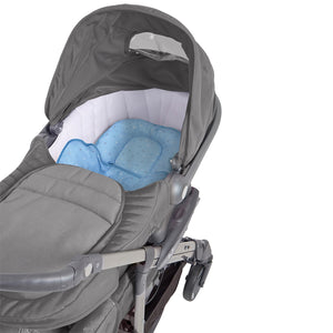 [Clevamama] ClevaCushion Nursing Pillow & Baby Nest - Not Too Big (Blue) in a baby stroller