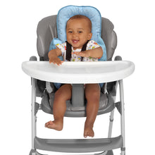 Load image into Gallery viewer, Baby in a high chair with the [Clevamama] Blue ClevaCushion Nursing Pillow & Baby Nest - Not Too Big