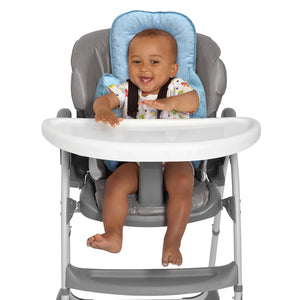 Baby in a high chair with the [Clevamama] Blue ClevaCushion Nursing Pillow & Baby Nest - Not Too Big