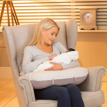 Load image into Gallery viewer, Mother feeding baby in the [Clevamama] Grey/Yellow ClevaCushion Nursing Pillow & Baby Nest - Not Too Big