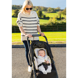 Mother pushing baby stroller with baby with the [Clevamama] Grey ClevaCushion Nursing Pillow & Baby Nest - Not Too Big