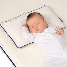 Load image into Gallery viewer, Baby sleeping on the [Clevamama] ClevaFoam Baby Pillow - Not Too Big