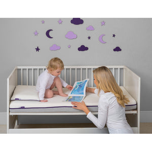 Mother and child in the nursery with the [Clevamama] ClevaFoam Support Mattress - Increased Airflow - Not Too Big