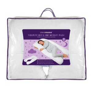 [Clevamama] Therapeutic Body & Bump Maternity Pillow - White - Not Too Big (Packaging)