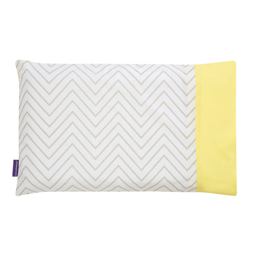 [Clevamama] ClevaFoam Toddler Pillow Case - Not Too Big (Yellow/Grey)