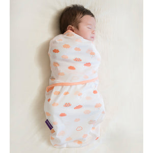 Baby swaddled in the [Clevamama] Clevamama Swaddle to Sleep (0-3 months) - Not Too Big (Coral)