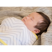 Load image into Gallery viewer, Baby swaddled in the [Clevamama] Clevamama Swaddle to Sleep (0-3 months) - Not Too Big (Yellow/Grey)