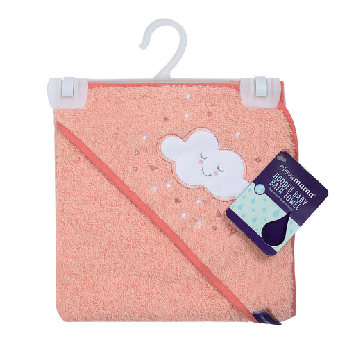 [Clevamama] Soft Cotton Hooded Baby Bath Towel - Not Too Big (Coral Packaging)