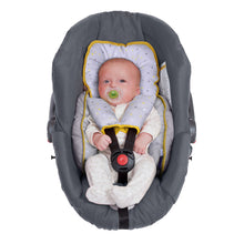 Load image into Gallery viewer, Baby lying in the [Clevamama] ClevaFoam Head & Body Support - Grey/Yellow - Not Too Big