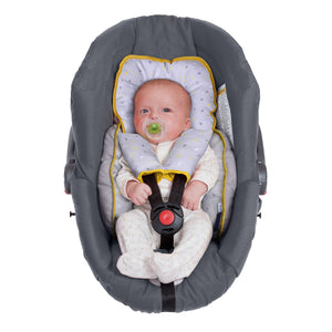 Baby lying in the [Clevamama] ClevaFoam Head & Body Support - Grey/Yellow - Not Too Big