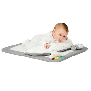 Baby playing on the [Clevamama] Newborn Tummy Time Mat - Not Too Big