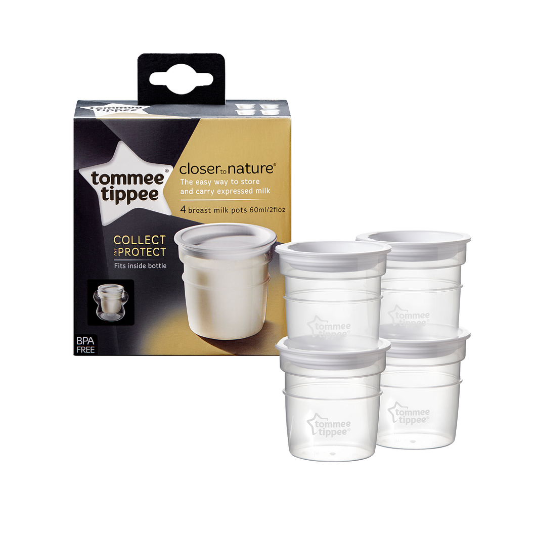 [Tommee Tippee] Closer to Nature Milk Storage Pots (4PK) - Not Too Big (Packaging and Content)