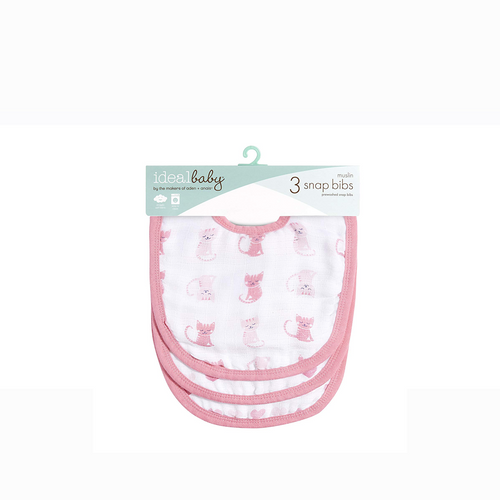 [Aden + Anais] Ideal Baby Snap Bibs 3pk (Kitty Love) - Not Too Big