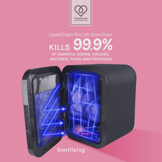 LoveAmme LoveClean Pro video with a UV light emitting from the steriliser