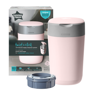[Tommee Tippee] Twist & Click Nappy Disposal Bin - Not Too Big (Pink Packaging)