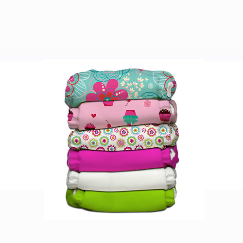 [Charlie Banana] Reusable One Size Organic Diapers (6 Diapers 12 Inserts) - Not Too Big (Flower Power Hybrid)