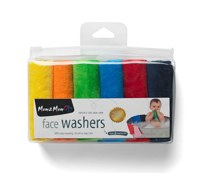 [Mum2Mum] Face Washers Brights 6 Pack - Not Too Big