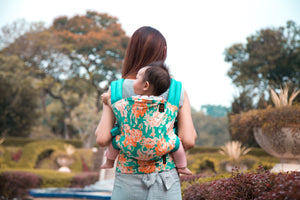 Mother carrying baby in the Garden Mesh [Mimosa] Ergonomic Baby Carrier - Not Too Big