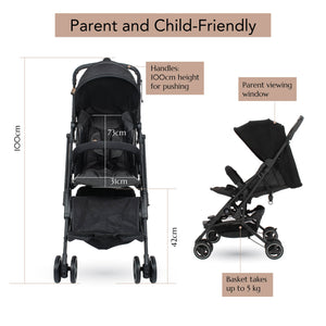 [Mimosa] Cabin City+ Baby Stroller - Not Too Big (Jet Black) Product Highlights
