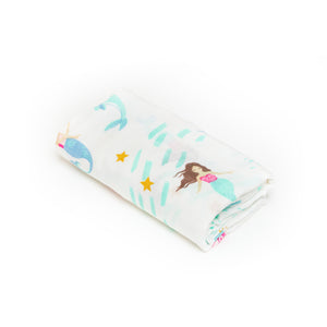 [Mimosa] Multi-Purpose Bamboo Muslin Swaddle - Not Too Big (Mermaid)