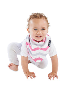 Baby wearing the Pink Chevron [Mum2Mum] Fashion Bandana - Not Too Big