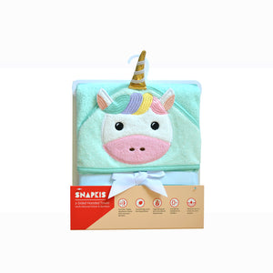 Snapkis Unicorn hooded towel in packaging