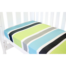 Load image into Gallery viewer, Babyhood fitted sheet for cot bed with Lime strip color at Not Too Big