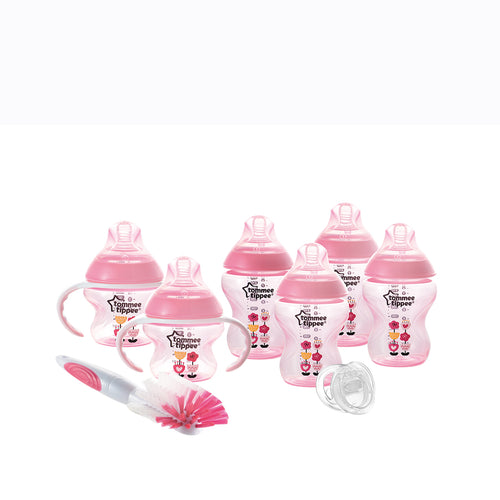 [Tommee Tippee] Closer to Nature Decorated Bottle Newborn Starter Kit (Pink) - Not Too Big