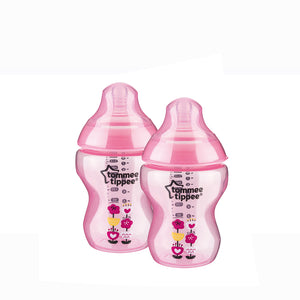 [Tommee Tippee] Closer to Nature Tinted Bottle Twin Pack - Not Too Big (Pink)