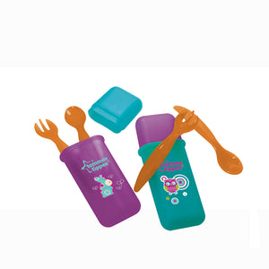 [Tommee Tippee] Travel Cutlery Set (Assorted Colors) - Not Too Big (Purple/Orange and Blue/Orange)