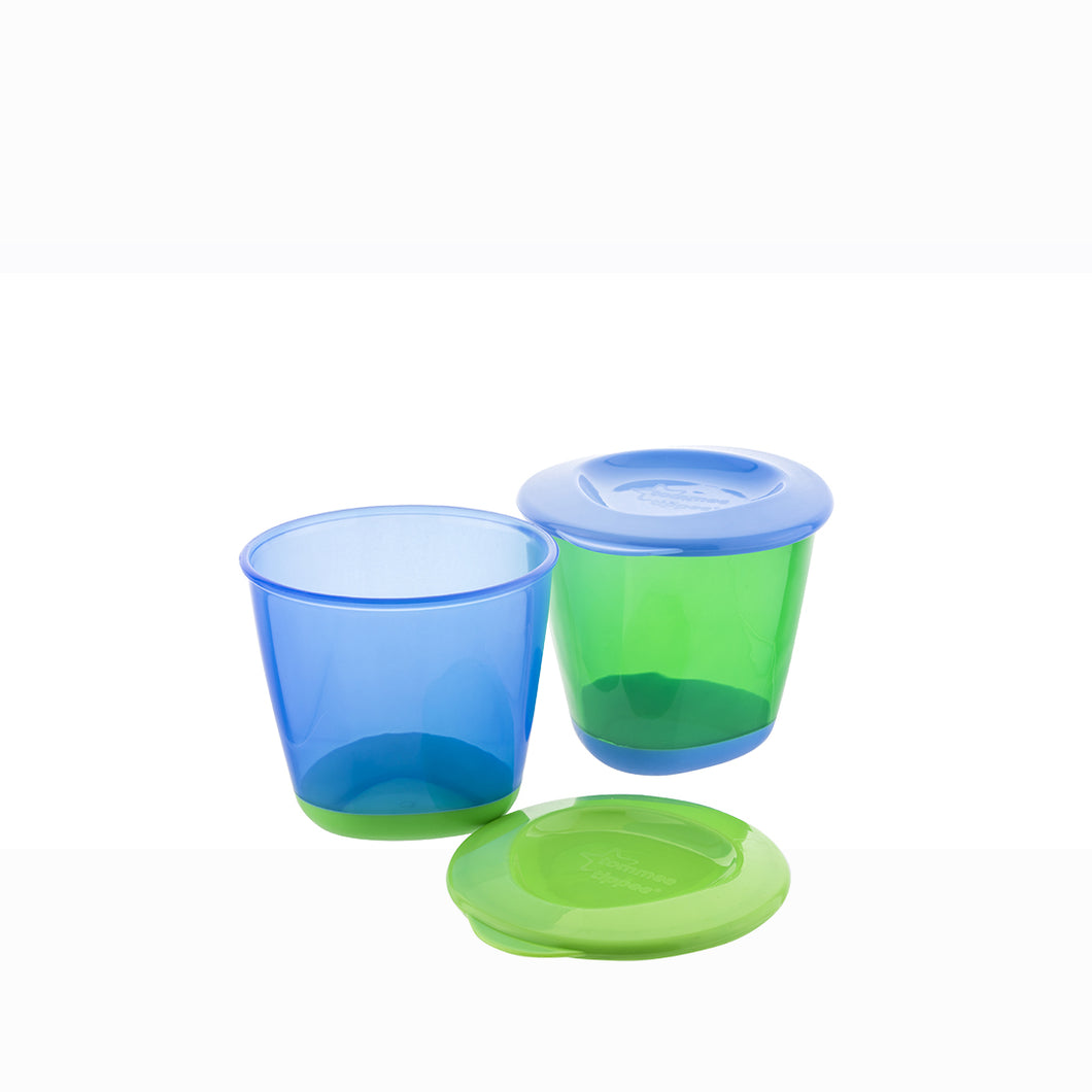 [Tommee Tippee] Explora Pop-Up Weaning Pots (2PK) - Not Too Big (Blue and Green)