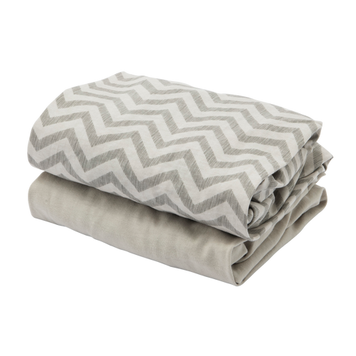 [Tutti Bambini] Cozee Fitted Sheets - Not Too Big (Grey/Chevron)
