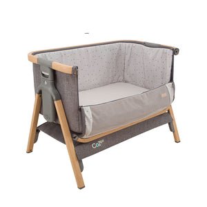 Oak/Charcoal [Tutti Bambini] Cozee Bedside Crib with dropside down - Not Too Big