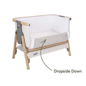 White [Tutti Bambini] Cozee Bedside Crib with Dropside Down - Not Too Big