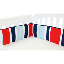 Load image into Gallery viewer, Babyhood cot bed bumper for baby in red, blue and white stripes