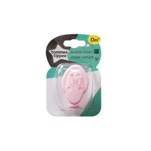 [Tommee Tippee] Closer to Nature Soother Holder - Not Too Big (Pink for baby 0 months and above)