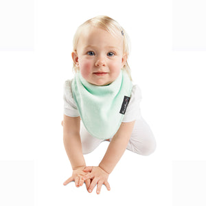 Baby wearing the Mint [Mum2Mum] Teething Bandana - Not Too Big